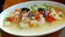 Sea scallop ceviche at Craft in Century City