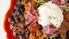 Burrata and pork adovada at Panxa Cocina